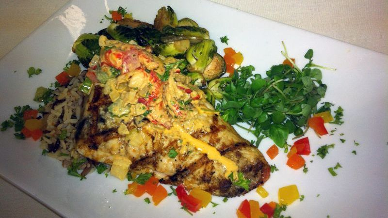 Grilled Grouper Creole Crawfish